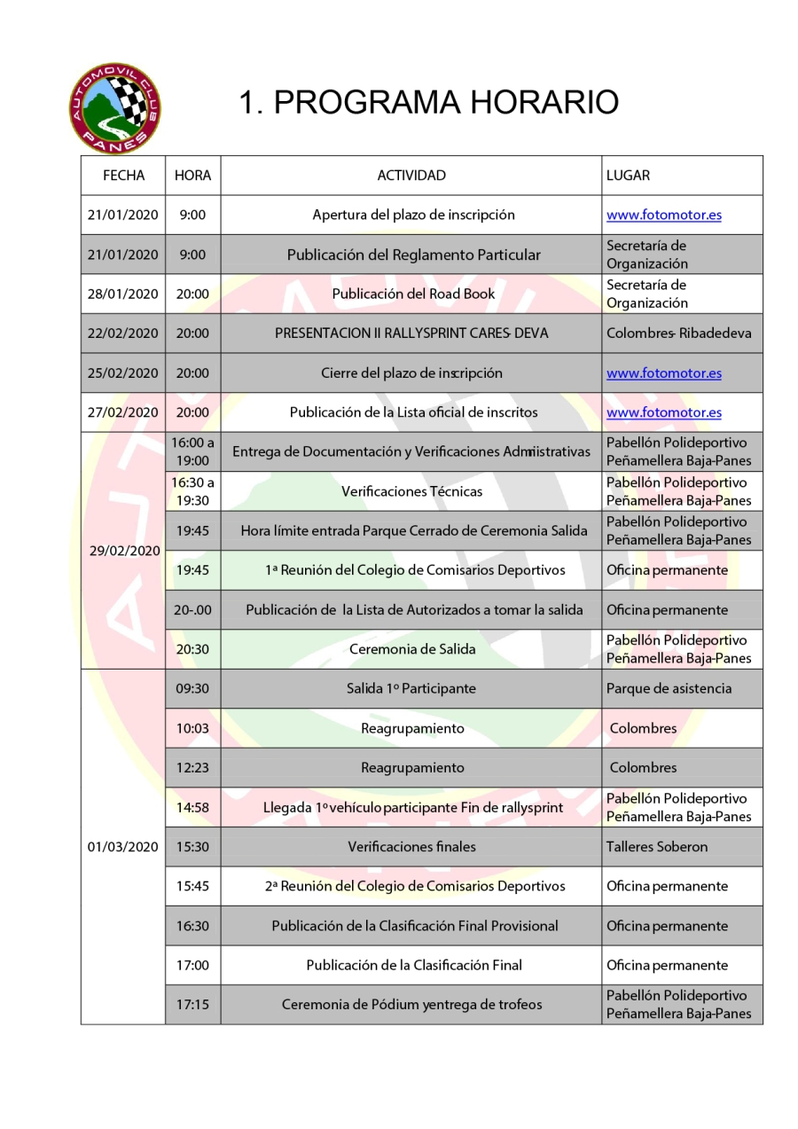 Programa horario